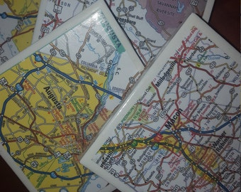 GA Map Coasters...Featuring  Augusta answer Macon...Full Cork Bottoms...For Drinks and Candles