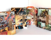 4 comic gift bags / birthday treat bags / recycled comic books