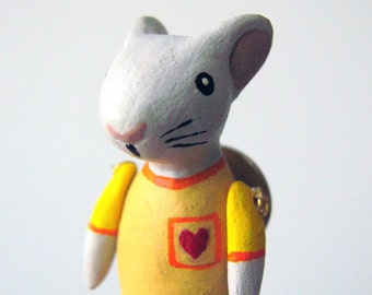 mouse in yellow shirt -  pin - decorative jewelry - one of a kind - handmade