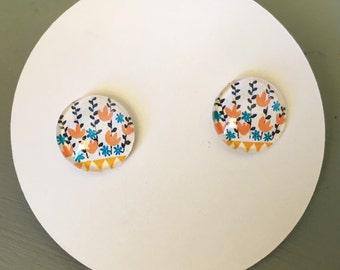 Titanium Earrings, Tulip Print, looks like vintage embroidery