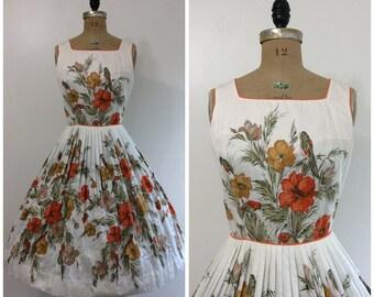 Vintage 1950's Parrot Floral Novelty Print Dress 50's Bird Border Print Covergirl Miami