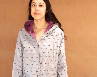 80s DUCK parka grey & red reversible RAIN SLICKER jacket hooded toggle