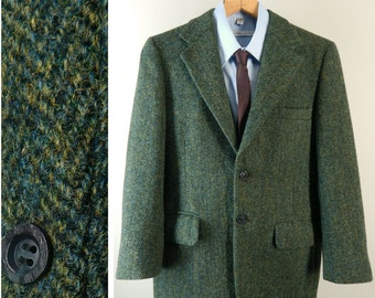 Vintage 1970s Mens Harris Tweed Sport Coat. Handwoven Scotland. Outstanding Trad Green Herringbone Tweed Jacket. Size 37 38