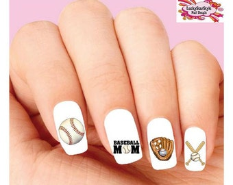 Waterslide Nail Decals Set of 20 - Baseball Mom Assorted