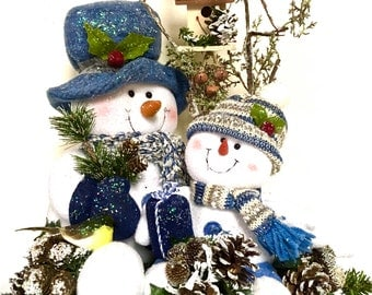 """Tall Snowman Centerpiece Arrangement with Tree Table Top Decoration Winter Christmas Table Decor Blue & White 16"""" (h) x 15"""" (w)"""