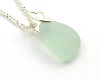 Seafoam Sea Glass Pendant Necklace Sterling Silver JEANA