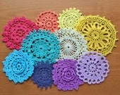 10 Rainbow Mix Hand Dyed Crochet Doilies