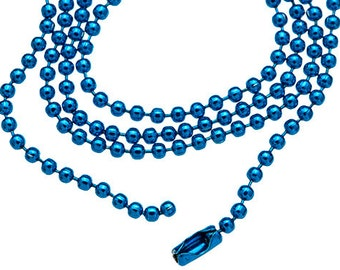 """5 BLUE 18"""" DIY Ball Chains Supply wholesale jewelry chain with Connectors H535"""