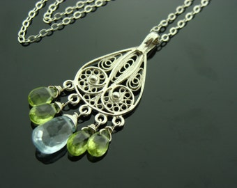 Sky Blue Topaz and Peridot 925 Sterling Silver Filigree Necklace Pendant