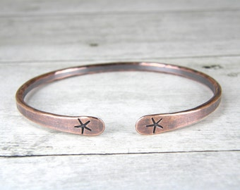 Starfish Copper Bracelet, Beach Bangle, Hammered Antiqued Copper Bangle