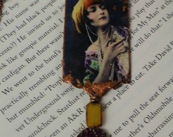 Vintage Image Of Gypsy Pendant Necklace Bohemian Urban Gypsy Handmade Picture Necklace