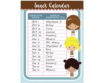 Brownie Girl Scout Snack Calendar - Editable Printable - Instant Download