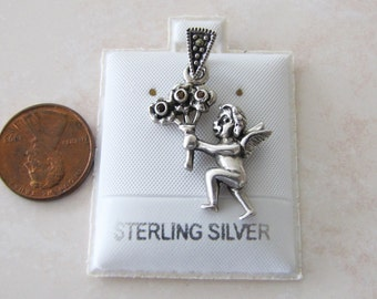 vintage Cherub / Angel Sterling Silver Pendant /Charm with garnet flowers