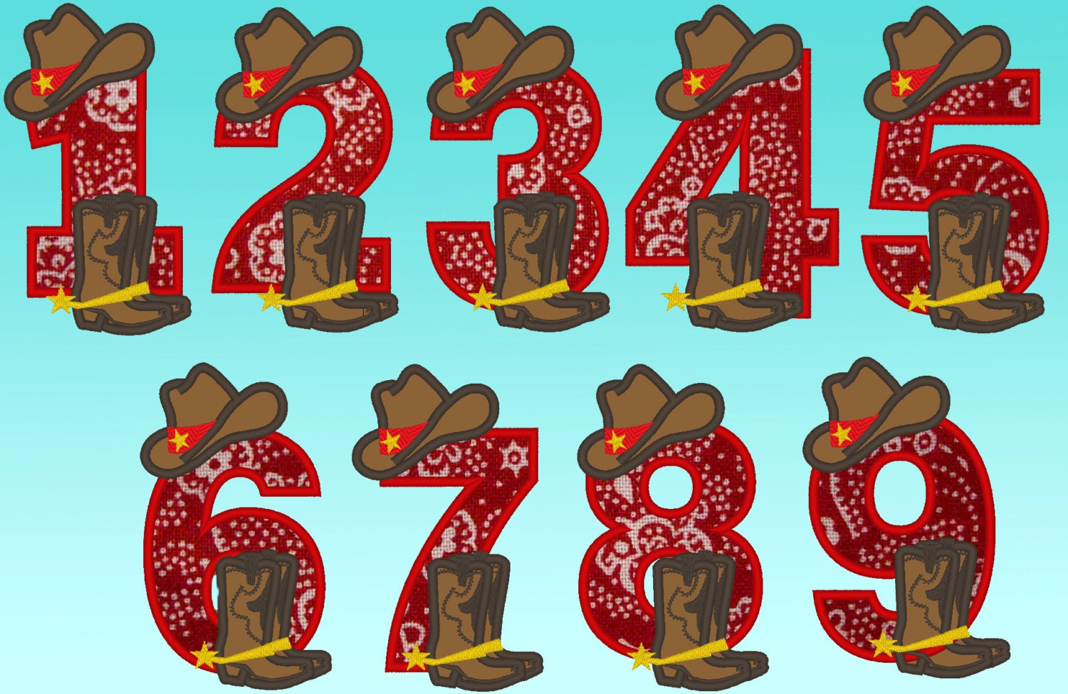 simply cowboy birthday numbers whole set machine