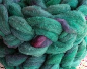 "4 oz Hand Dyed Romeldale / CVM Roving, ""Turquoise,"" Shades of Teal, Super Soft, Heritage Breed, Rare, Conservation Breed, Next to Skin Soft"