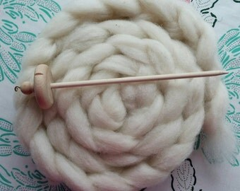 Learn to Spin Drop Spindle Kit with Heritage Breed Wool, Top Whorl Spindle, White Shetland Wool Included, Instructions, Spin Your Own Yarn
