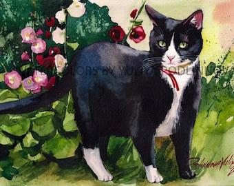 Tuxedo Cat Printable Art Digital Print of Original Watercolor Painting Instant Download  Cat Image Picture Wall Decor Home Artwork