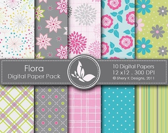 50% off Flora Paper Pack - 10 Digital papers - 12 x12 - 300 DPI