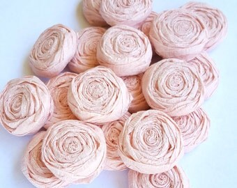 Blush pink paper flower roses - Set of 20 - Custom colors available