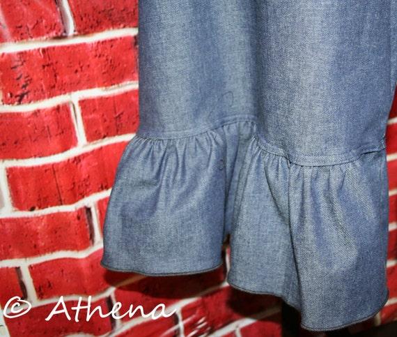 Capri Ruffle Pants - One Ruffle Womens Ruffle Pants-elastic waist -  (Custom Handmade - XS - 3XL)
