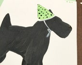 Hand Painted Birthday Card - Dog - Best Friend - Party Hat - Funny Birthday - Animal - Cute Birthday Card -Special Greetihg