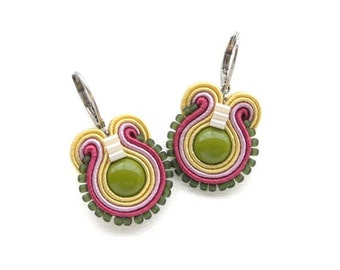 Olive Green Earrings Olive Drop Earrings Soutache Earrings Colorful Dangle Earrings Small Drop Earrings Olive Green Drop Earrings