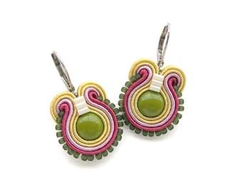 Olive Green Earrings Olive Drop Earrings Soutache Earrings Colorful Dangle Earrings Small Drop Earrings Olive Green Drop Earrings