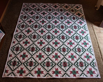 Burgundy Bear Claw Design Queen Size Quilt - READY TO SHIP!!!