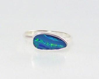 Dark Blue sky Opal Ring, Sterling Silver ring, Australian Opal Ring, Green lightning flash, Gift for her, ring size 6