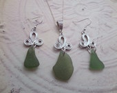 Silver Knot Earring and Necklace Set with Green Scottish Sea Glass, Jewelry from Scotland, Gift for Her