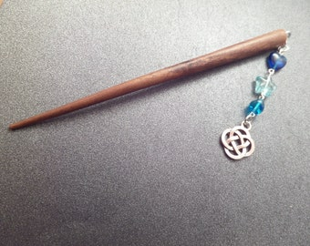 Wooden Hair Stick with Celtic Knot Charm and Turquoise Blue Glass Beads, Chop Stick Bun Accessory