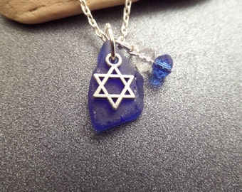 Scottish Sea Glass Necklace in White and Blue with Star of David Charm Religious Jewelry Jewish