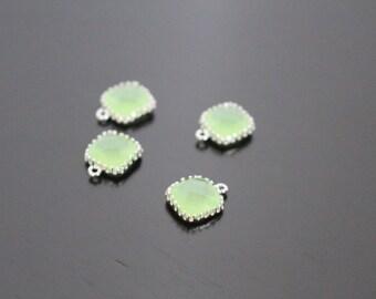 Jewelry Supplies, Silver plated Square Glass Drop Pendant, light apple green framed Glass Stone charm, light aqua bead, 9 mm, 2 pc