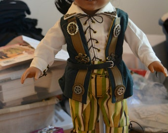 American girl doll clothes for boy or girl doll pirate Steampunk pants shirt vest belt treasure chest