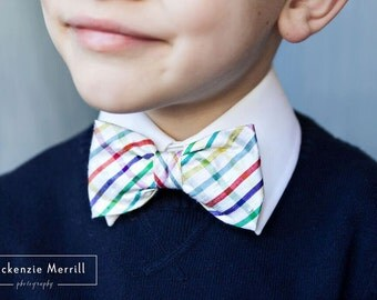Rainbow Plaid Silk Bow Tie - Clip on, pre-tied with strap or self tying