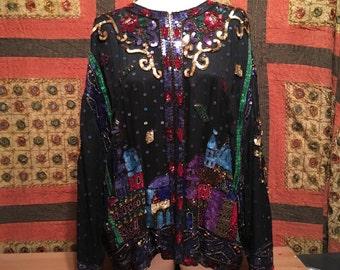Vintage Ladies Beaded Silk Top  Jacket Lined  Sequins  Sz LG