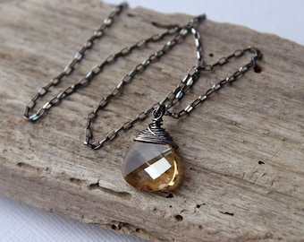Crystal Necklace, Gemstone Necklace, Oxidized, Wrapped Briolette Necklace, Swarovski Pendant Necklace, Urban, Modern, Boho Chic by CVennell