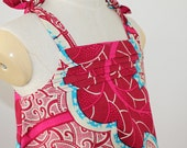 African Print  Girl's  Dress in pink, white and blue floral pattern