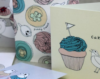 Bird and Cupcakes Note Cards Set of Five