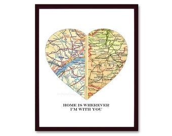Valentines Day Gift, Heart Map Valentines Gift for Husband, Map Art Print Gift for Wife, Unique Boyfriend Gift, Girlfriend, Home is Wherever