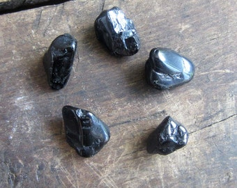Black Tourmaline set of 5 SMALL tumbled gemstones  witchcraft supplies wicca wiccan crystals pagan gemstones magick altar tools