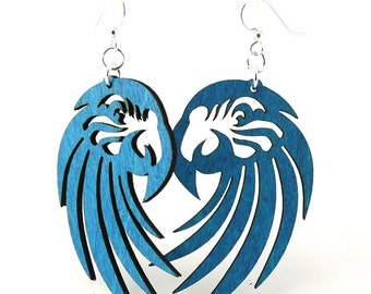 Macaw Parrots - Laser Cut Earrings from Reforested Wood