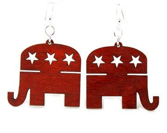 Republican Party Earrings - Cut from Reforested Wood