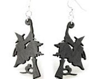 Witch on broomstick Earrings - Lightweight wood earrings