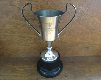 Vintage English E.P.N.S. Silver Plated Engraved Trophy Cup Rally Navigator Hunt Award Prize Trophies circa 1969 / English Shop