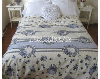 Medallion bedding Super king oversized duvet cover queen double Cream navy Blue rose floral shabby chic beach Bedding Queen King Nurdanceyiz