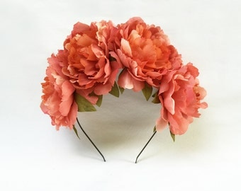 Coral Flower Crown, Frida Kahlo, Floral Headpiece, Mexican, Floral Crown, Salmon, Flower Headpiece, Boho, Festival Style, Day of the Dead