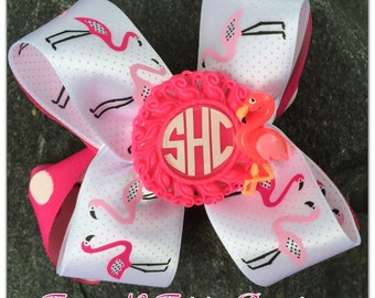 Pink Flamingos Personalized Initial Hairbow