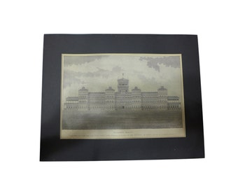 Solomon's Temple w/ Map of Holy Land on Back - Late 19th C. Steel Engraving