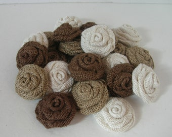 Twenty-five  (25) Small Brown, Beige and Cream 1.5 - 2 inch Burlap Rosettes Flowers Embellishment Supplies Rustic Shabby Chic Wedding Decor